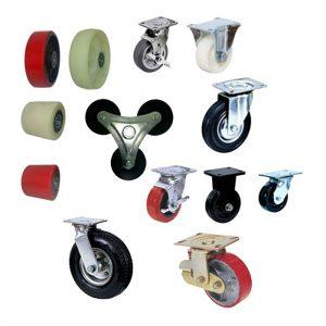 ruedas y horquillas en diferentes materiales